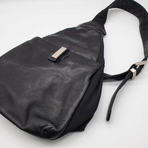 Perlina Vintage Black Leather Slingback Backpack